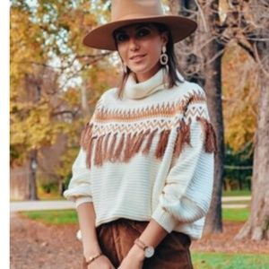 FRINGE LOVE Cowl Neck Knit Sweater